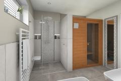 LH12 - Bad mit Dusche/Sauna, Stil Landhaus,  Highend-Fotorealistik