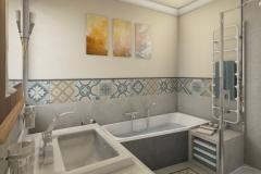 LH21 - Bad mit Raumsparwanne und Dusche, Retro-Style, Highend-Fotorealistik