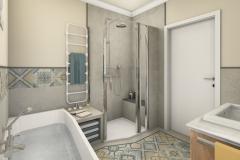 LH23 - Bad mit Raumsparwanne und Dusche, Retro-Style, Highend-Fotorealistik