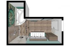 LH33 Grundriss 3D, Bad im moderem Landhausstil