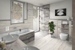 M64 Dusche und WC, Fliesen in Natursteinoptik