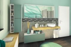M18 - Perspektive Waschtisch und Spiegel mit Mosaik, Highend 3D Fotorealistik