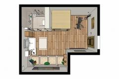 M58 3D-Grundriss, Bad mit farblichen Akzenten, barrierefreie Dusche, Waschtisch, verflieste Sitzfläche und Wellnesskabine