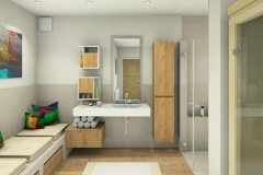 M51  Perspektive Waschtisch, verflieste Sitzbank, 3D Highend-Fotorealistik