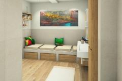 M55 Perspektive verflieste Sitzbank, 3D Highend-Fotorealistik
