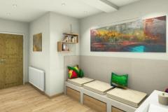 M56 Perspektive Sitzbank, Bad mit farblichen Akzenten, 3D Highend-Fotorealistik