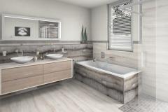 M66 Waschtisch und Badewanne, Fliesen in Natursteinoptik
