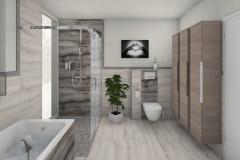 M68 Dusche und WC, Fliesen in Natursteinoptik