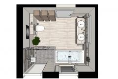 M69 Grundriss 3D, Modernes Bad, Fliesen in Natursteinoptik