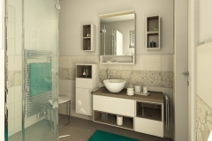 M39 Bad mit floralen Akzenten, aufgelockerte Waschtisch-Möbelkombination