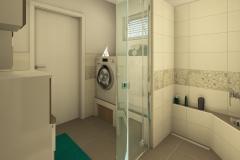 M41 Bad mit floralen Akzenten, barrierefreie Duschzone mit gemauerten Ablagen