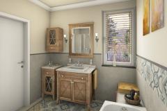 LH22 - Bad mit Raumsparwanne und Dusche, Retro-Style, Highend-Fotorealistik