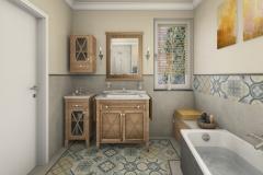 LH24 - Bad mit Raumsparwanne und Dusche, Retro-Style, Highend-Fotorealistik