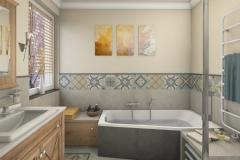 LH25 - Bad mit Raumsparwanne und Dusche, Retro-Style, Highend-Fotorealistik