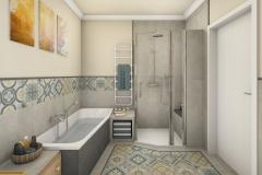 LH26 - Bad mit Raumsparwanne und Dusche, Retro-Style, Highend-Fotorealistik