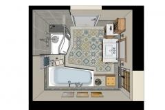 LH27 - Bad mit Raumsparwanne und Dusche, Retro-Style, Highend-Fotorealistik