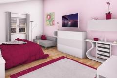 5 - Mädchenzimmer im Teenager-Alter. Angrenzender Schrankraum, Schminktisch, Couch, Multimedia