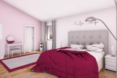 6 - Mädchenzimmer im Teenager-Alter. Angrenzender Schrankraum, Schminktisch, Couch, Multimedia
